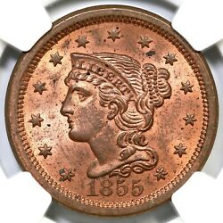 1855 N-4 Ngc Ms 63 Rd Upright 5 Braided Hair Large Cent Coin 1c