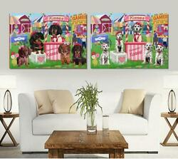 Carnival Kissing Booth Dog Cat Canvas Wall Art, Pet Photo Lovers Gift Home Decor