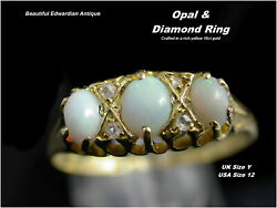 Opal And Diamond Ring Size Y Quality Edwardian Antique 18ct Gold Hm C1900/10