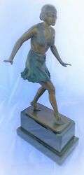Art Deco Figurine Of A Flapper Dancer ,style Of S.rieder ,marked