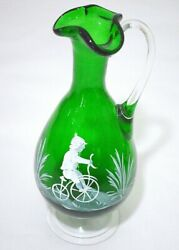 Green Glass Gregorian Type Hand Painted Pitcher