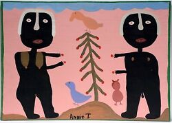Annie Tolliver Folk Art Painting- Outsider Alabama Adam And Eve On Wood