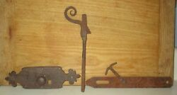 3 Antique Wrought Iron Door/metal Gate Hardware Items--1700and039s To 1930and039s