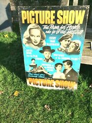Very Rare One Off Film Picture Show Advertising Tin Sign Errol Flynn Etc