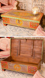 Painted Vintage Effect Indian Trunk Coffee Table Chest Toy Box