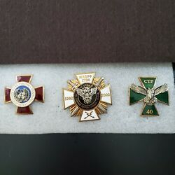 Lot Of 3 Military Russian Police Badges Pins