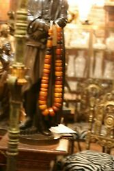 Huge Amber'/ Antique African Trade Beads Of Adornment Necklace, 1200 G. Rare