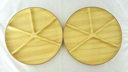 2 Vintage Robex Faux Wood Grain Molded Divided Plates Ash Pine Serving Section