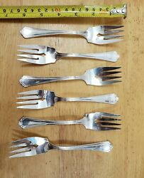 Lot Of 6 Rare Reed And Barton Vintage 1928 La Salle Silverplated6 1/8salad Forks