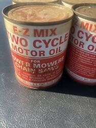 Metal Cans Ez-mix 2 Cycle Oil Vintage Gas And Oil 6-pack Full Cans