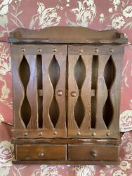 Vintage Wooden Spice Herb Cabinet, 2 Doors, 2 Drawers Wall Hanging