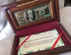 100 American Dollars Made Of Silver Gold Plated Display Item For Office Or Home