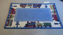 Pottery Barn Kids Ryder Wool Hooked Train Rug 3and039 X 5and039 Blue Boys Room Nursery