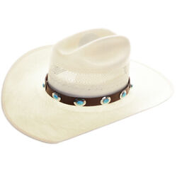 Navajo Design Sterling Genuine Turquoise  Concho Hatband $269.00