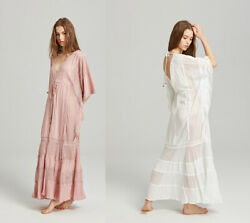Fp Free People Ladies Maxi Embroidered Backless Cut Out Turkey Robe Kaftan Dress