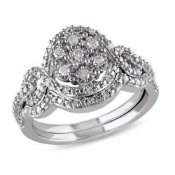 1/3 Ct Round Cut Simulated Diamond Cluster Bridal Set Ring 10k White Gold Over
