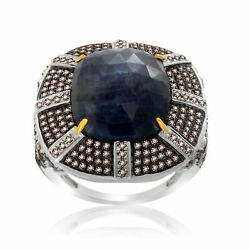 Heavy 14.15 Ct Slice Sapphire And Diamond 18k Gold And Sterling Solitaire Ring 7.5