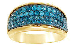 0.87 Ct Round Cut Blue Natural Diamond Four Row Engagement Ring 10k Yellow Gold