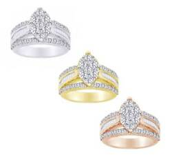 4.00 Ct Round And Baguette Cut Real Diamond Bridal Engagement Ring 14k Solid Gold