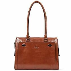 CLUCI Womens Briefcase Oil Wax Genuine Leather 15.6 Inch Laptop Business Vintage