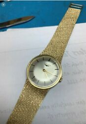 Vintage 14k Yellow Gold Longines 31mm Watch With Mesh Bracelet