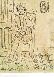 1941 Original Drawing By The Famous Cuban Artist Mariano Rodriguez Art