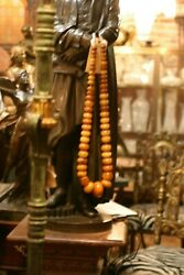 Huge Amber'/copal Antique African Trade Beads Of Adornment Necklace, 850 G.