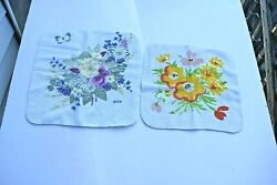 Vintage Washcloths Set Of 2 White With Floral Print 1-12 X 12 1- 11 X 10