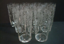 Rose Point Genuine Hand Made Cambridge 9 Etched Glass 12oz Straight Soda Tumbler