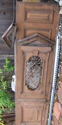 Vintage European Wooden Solid Oak Doors With Wrought Iron Grid 1400 Obo