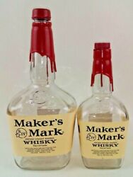 Makers Mark Kentucky Whisky Red Wax Seal Empty Bottles Lot Of 2 750ml/1.75l
