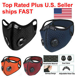 NEW style Cycling Face Mask With Active Carbon Filter Breathing Valves Reusable $15.99