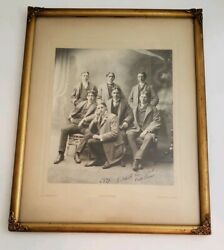 1899 Vintage Photo Mens Bicycle Club Pittsfield Ma In Antique Gold Frame 12x17