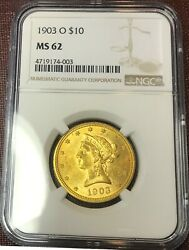 1903-o 10 Ngc Ms 62 Eagle Rare Date In Unc Undergraded New Orleans Mint