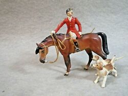 Larger Vienna Bronze Fox Hunter Sitting On Horse Looking Back W/2 Hounds