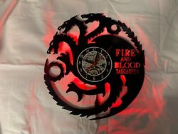Game of Thrones (GOT) Blood and Fire - vinyl wall clock made from a record