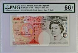 Gem Unc 50 Pounds Britain Rare Prefix L 388c Bank Of England Andpound50 B404 2006 66epq