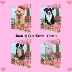 Rosie 25 Cent Kisses Dog Cat Canvas Print Wall Art Home Décor, 16x20 Inches