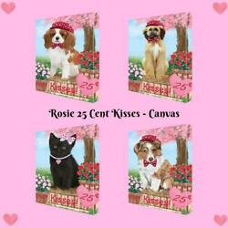 Rosie 25 Cent Kisses Dog Cat Canvas Wall Art Home Décor, 24x36 Inches