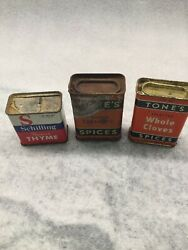 Lot Of Vintage Tone's And Schilling Tins. Whole Cloves Ground Turmeric And Thyme