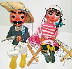 Vtg Set Of 2 Mexican Folk Art Marionette Pull String Puppet Gun Man Peasant Girl