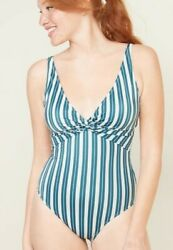 Old Navy Womens Size XXL Teal amp; White Twist front One piece Bathing Suit NWT