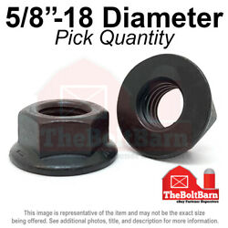 5/8-18 Grade 8 Smooth Hex Flange Nuts Fine Black Phos And Oil Pick Qty