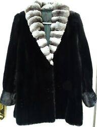 Pauline Loiselle Mink Fur Stroller With Chinchilla Collar Womenand039s Coat Size 15