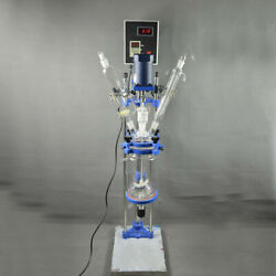 220v Intbuying 5l Chemical Lab Equipment Jacketed Glass Reactor Vessel Digital