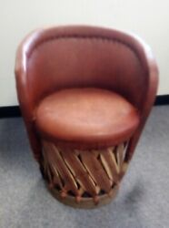 Mexican Equipale Cushioned Restaurant Wood Back And Leather Chair. Pickup Only