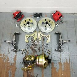 65-70 Chevy Full Size Big Brake + Booster Master Conversion 5x4.75 Red Calipers