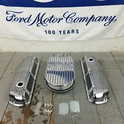 Ford Sbf 15 Full Oval Finned Engine Dress Up Kit No Breather 260 289 302 351w