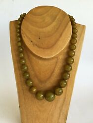 Antique Chinese Marbled Light Green Bakelite Bead Art Deco Necklace 55 Cm M2332