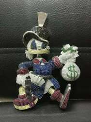 Donald Duck With Money Bag Hip Hop Trendy Pendent In Streling Silver S925